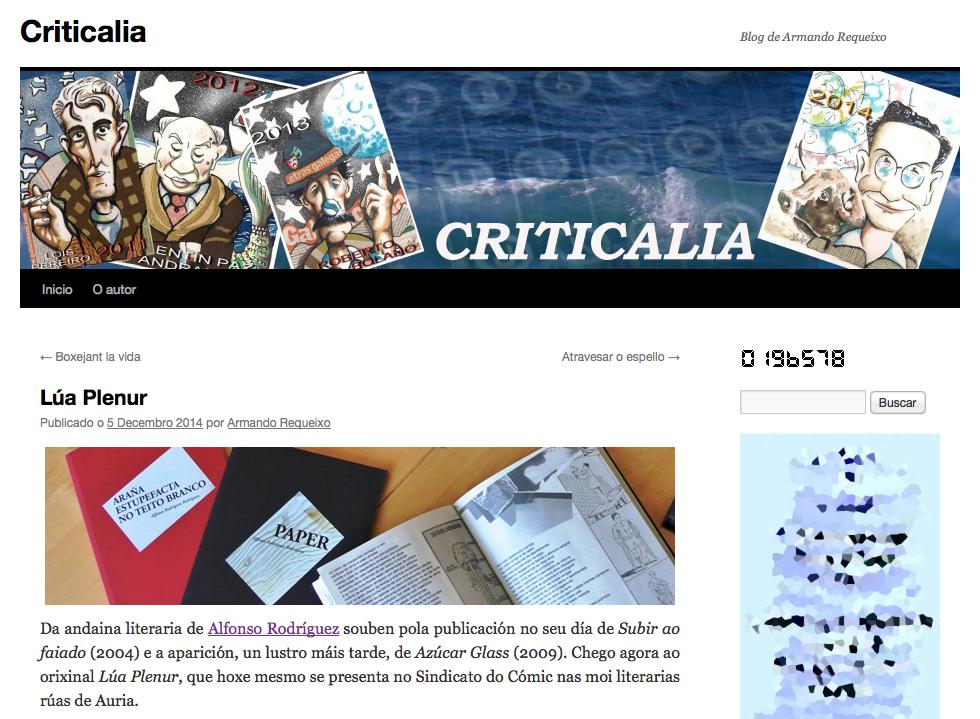 "<span class=""entry-title-primary"">Lúa Plenur no Criticalia</span> <span class=""entry-subtitle"">Crítica de Armando Requeixo, 5-12-2014</span>"