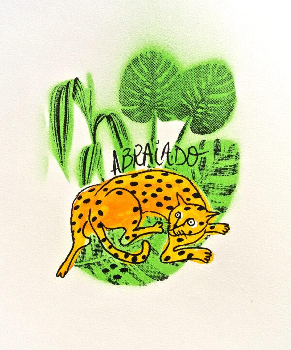 A fauna da casa: gato abraiado (serigrafía orixinal)