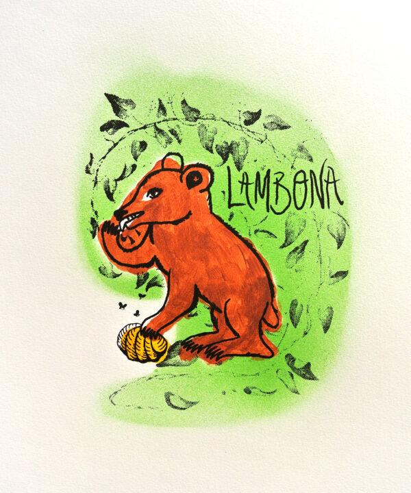 A fauna da casa: osa lambona (serigrafía orixinal)