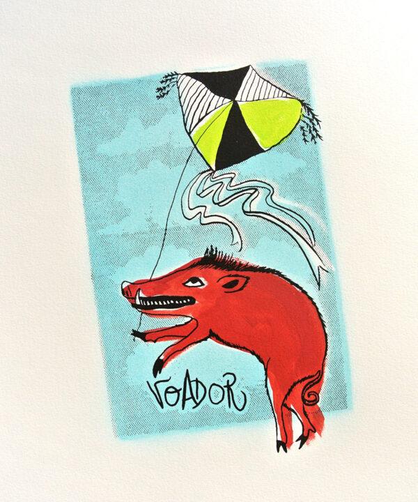 A fauna da casa: porco voador (serigrafía orixinal)